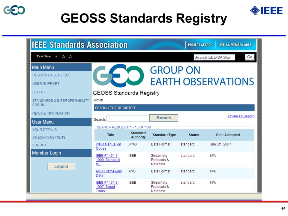 GEOSS Standards Registry