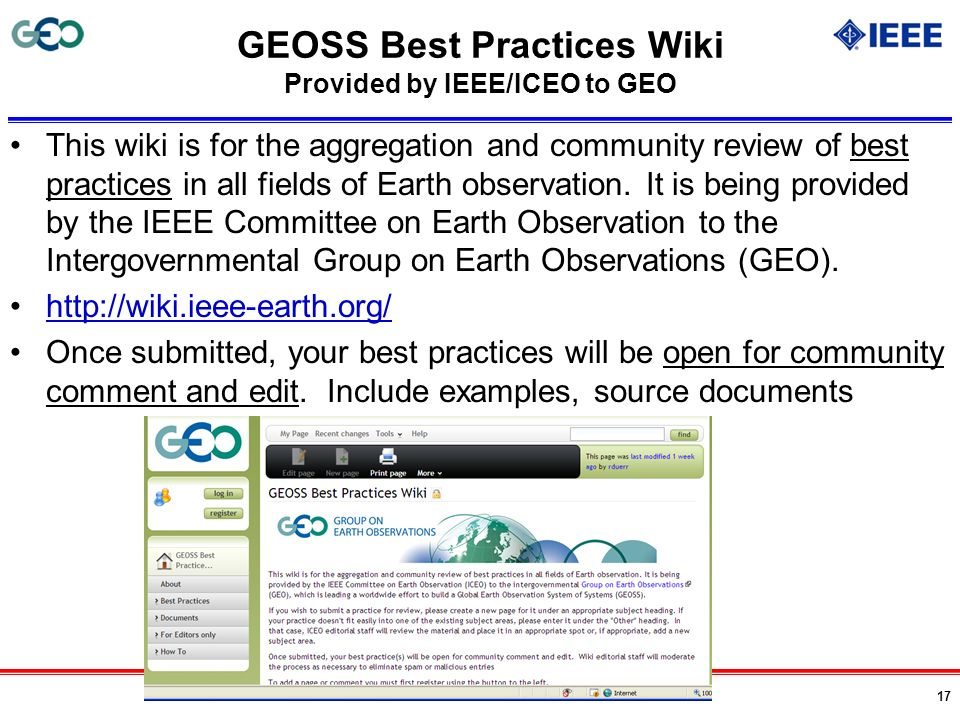 GEOSS Best Practices Wiki Provided by IEEE/ICEO to GEO