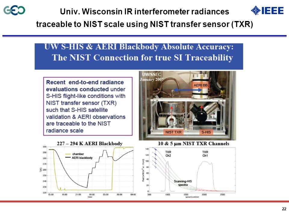 Univ. Wisconsin IR interferometer radiances traceable to NIST scale using NIST transfer sensor (TXR)