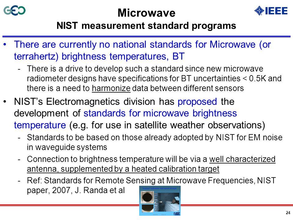 Microwave NIST measurement standard programs