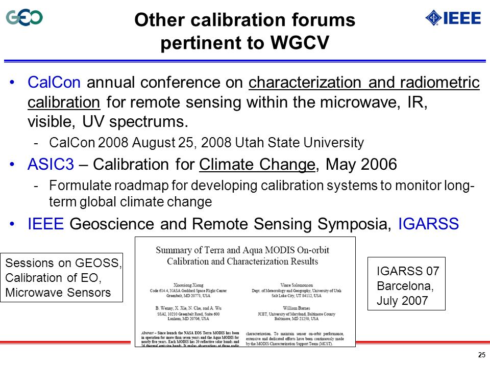 Other calibration forums pertinent to WGCV