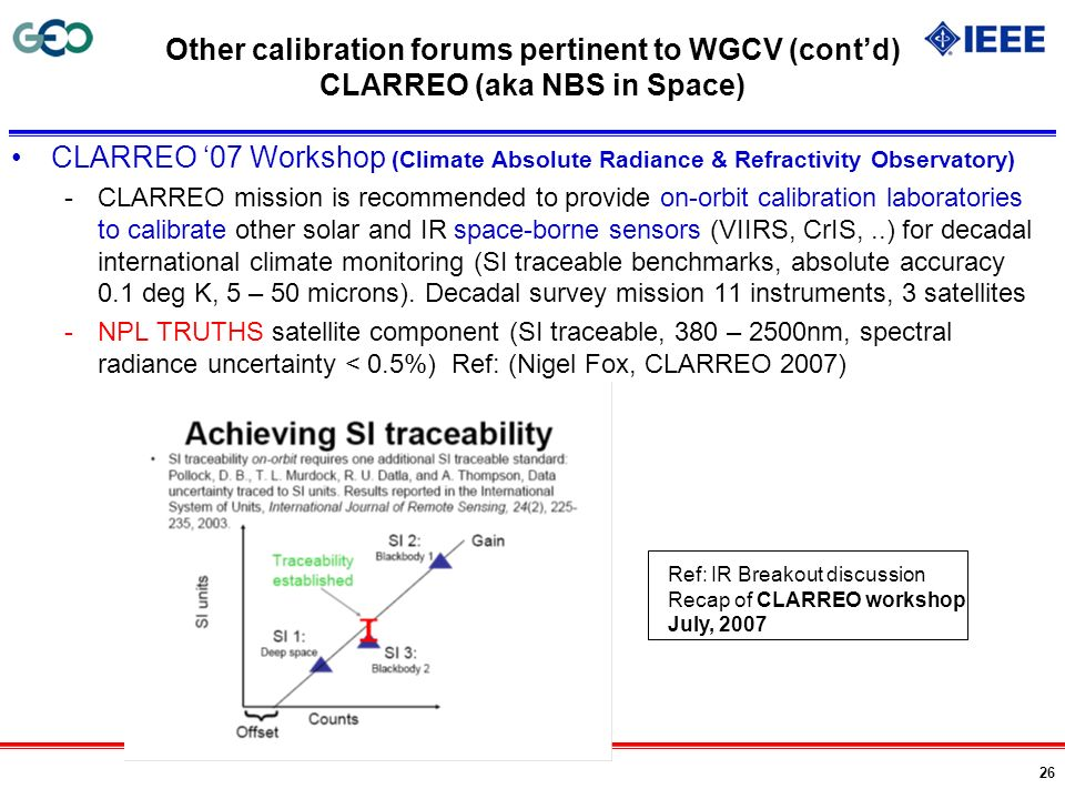 Other calibration forums pertinent to WGCV (cont'd) CLARREO (aka NBS in Space)
