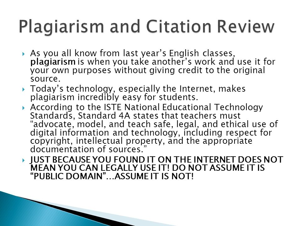 plagiarism citation and students Teaching students to avoid plagiarism  february 26,  and the common core requires students to start applying a formal citation style as early as grade 7.