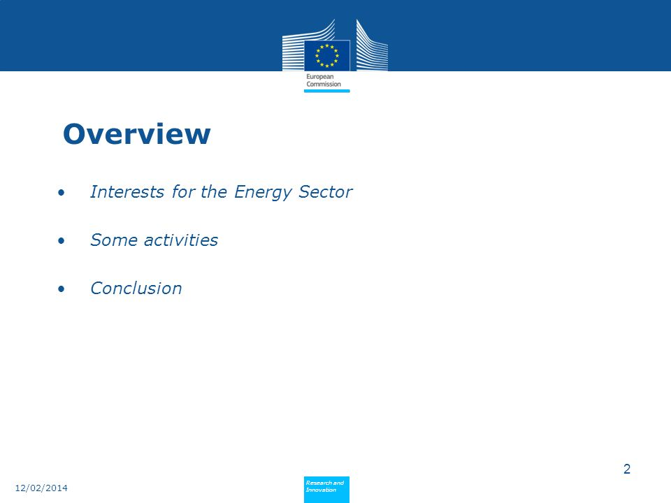 Overview Interests for the Energy Sector Some activities Conclusion