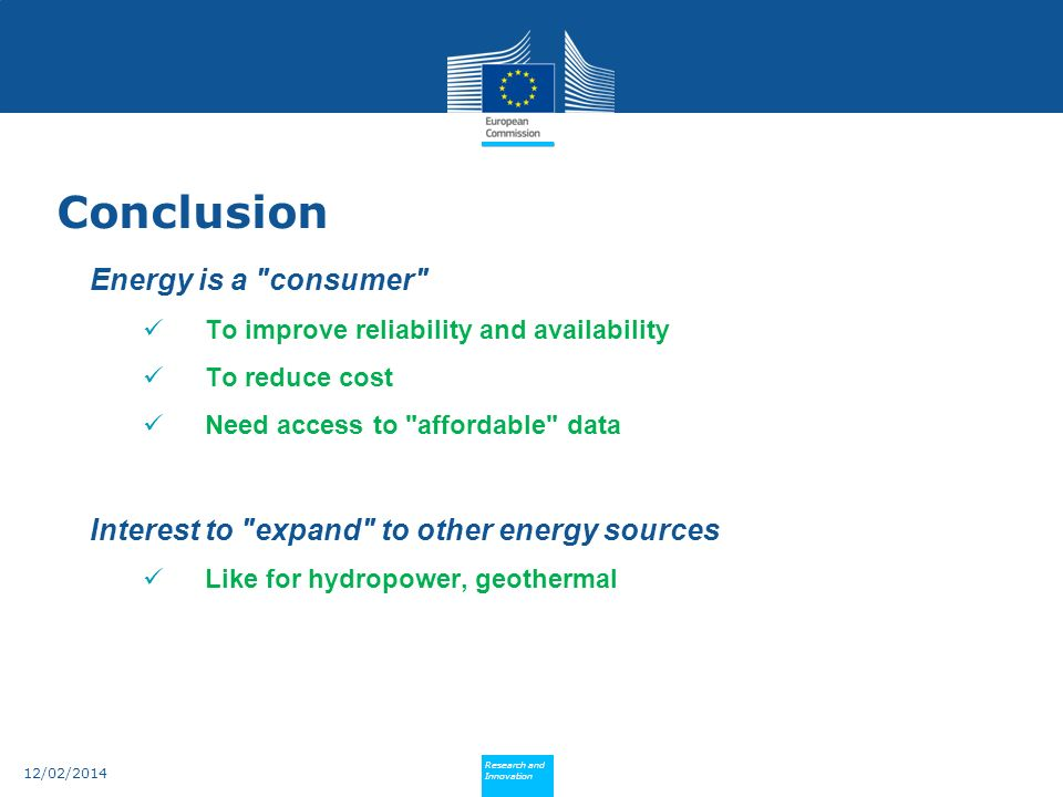 Conclusion Energy is a consumer