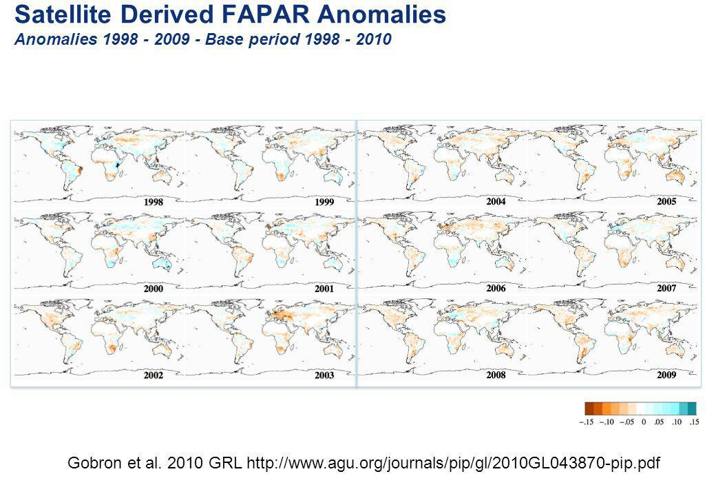 Satellite Derived FAPAR Anomalies Anomalies Base period