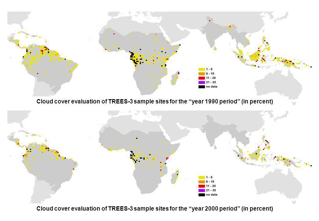 Cloud cover evaluation of TREES-3 sample sites for the year 1990 period (in percent)