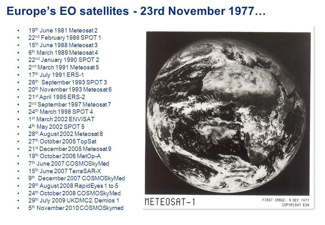 Europe's EO satellites - 23rd November 1977…