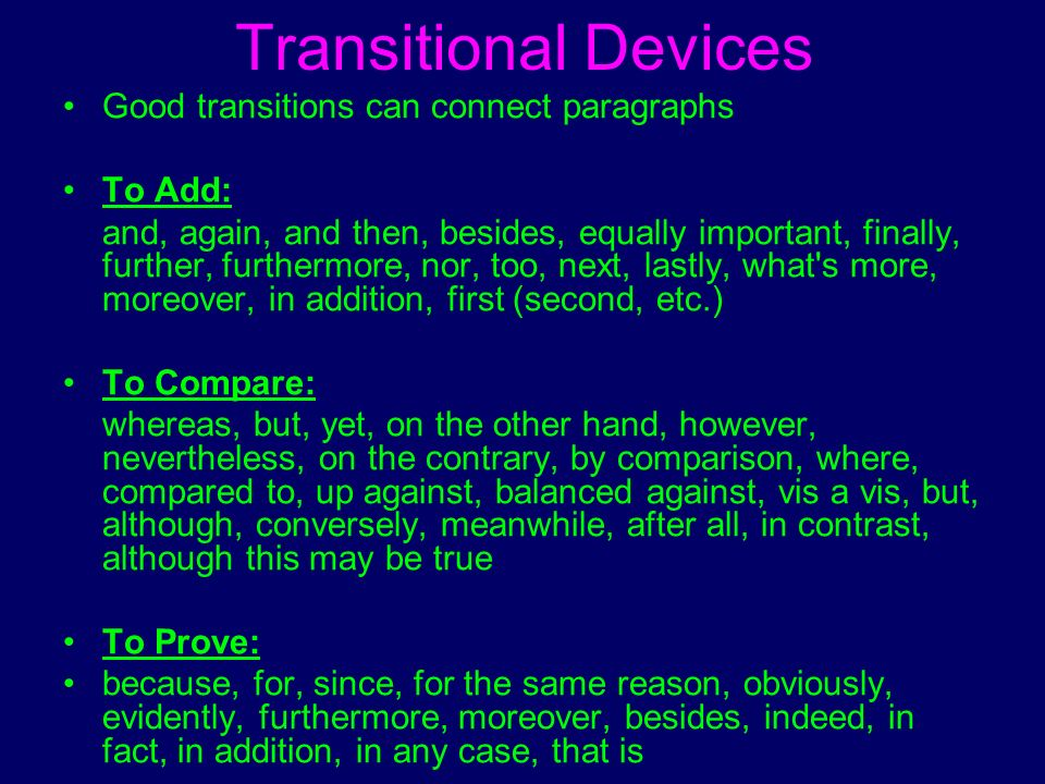 good transition words for a compare and contrast essay This post shows you how to use good transition words contrast: transition words that show the the former content manager for the kibin blog, and forever.