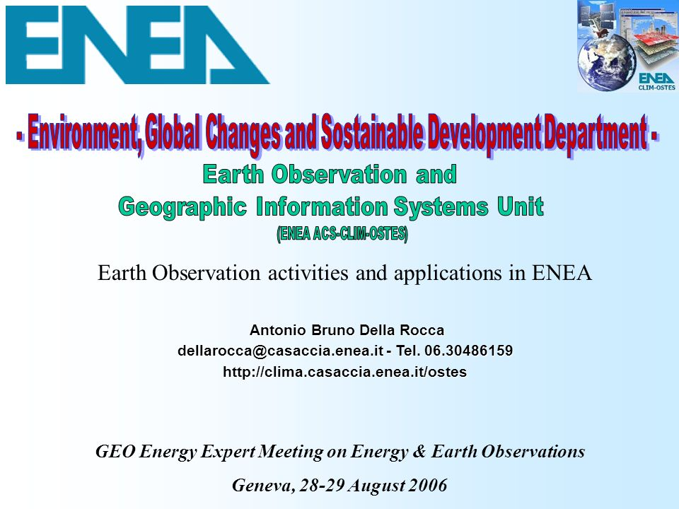 Earth Observation activities and applications in ENEA
