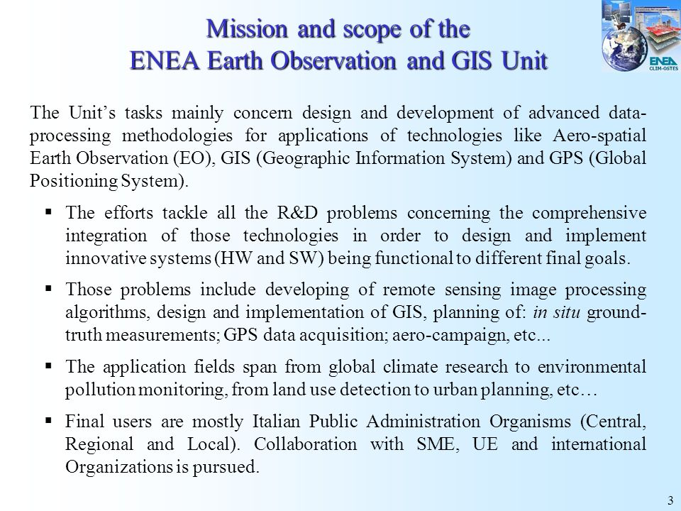Mission and scope of the ENEA Earth Observation and GIS Unit
