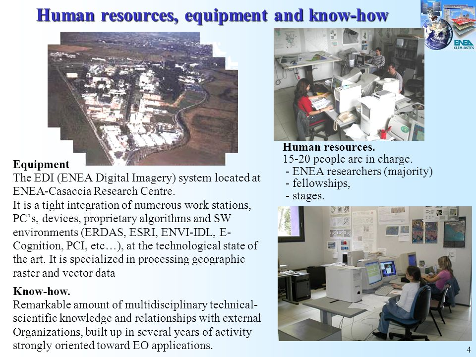 Human resources, equipment and know-how