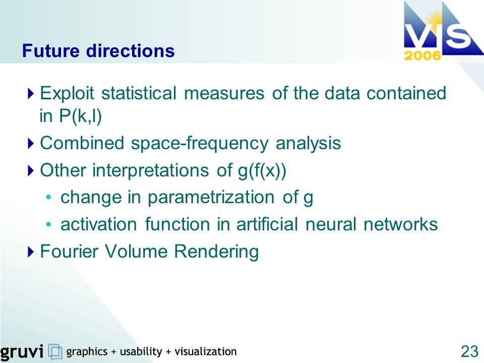 Future directions Exploit statistical measures of the data contained in P(k,l) Combined space-frequency analysis.