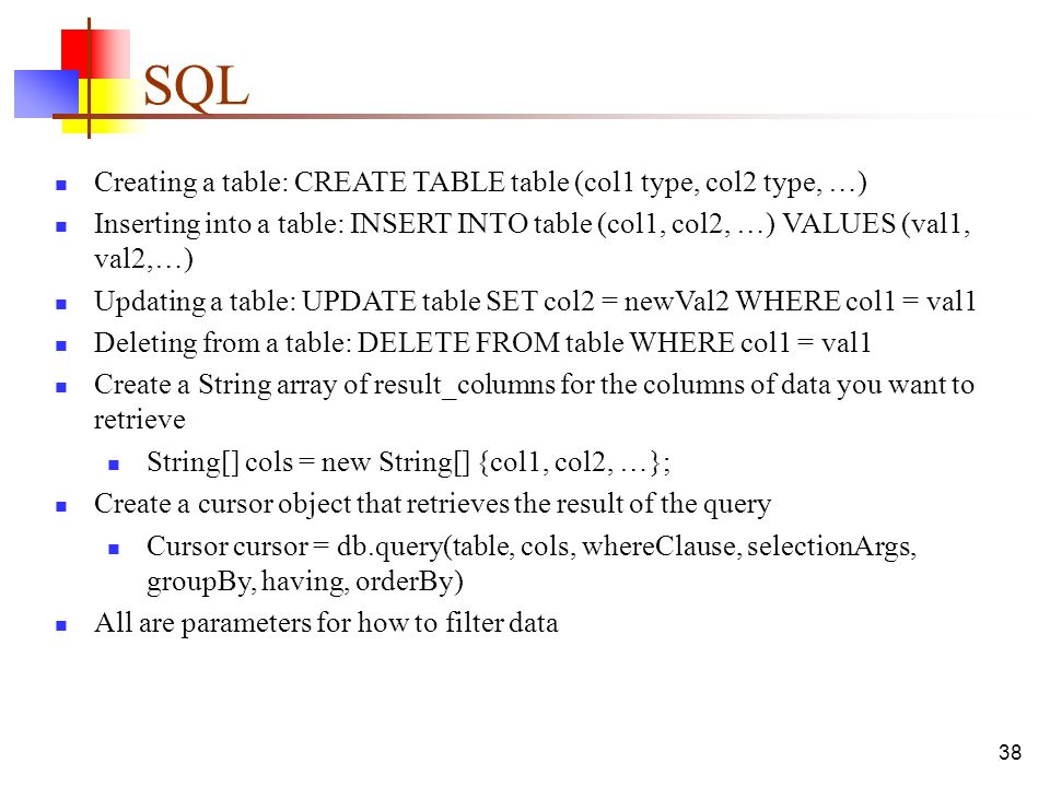 SQL Creating a table CREATE TABLE table (col1 type col2 type \u2026  sc 1 st  SlidePlayer & Mobile Application Development Selected Topics \u2013 CPIT ppt download