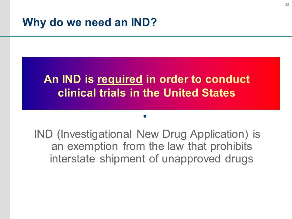 Why do we need an IND An IND is required in order to conduct clinical trials in the United States.