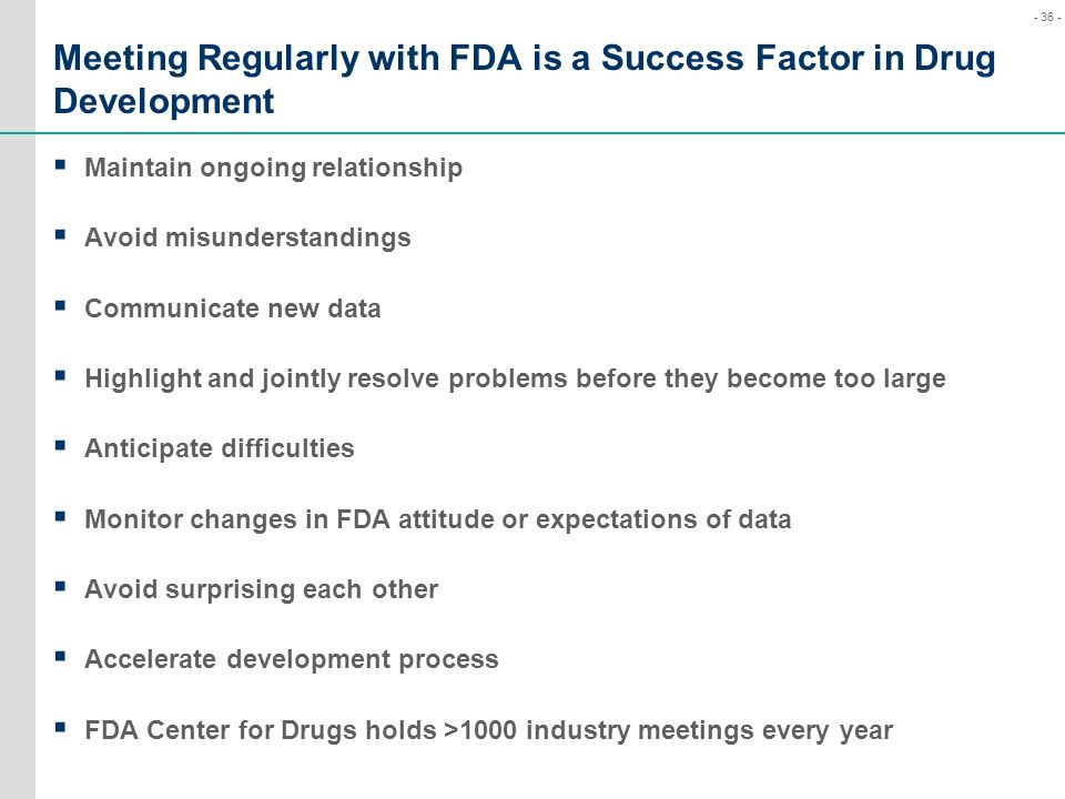 Meeting Regularly with FDA is a Success Factor in Drug Development