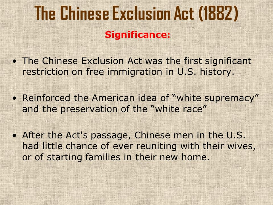 chinese exclusion act The chinese exclusion act is repealed and chinese in the united sates are given the right to become naturalized citizens the quota for chinese immigration is set at 105 people per year the quota for chinese immigration is set at 105 people per year.