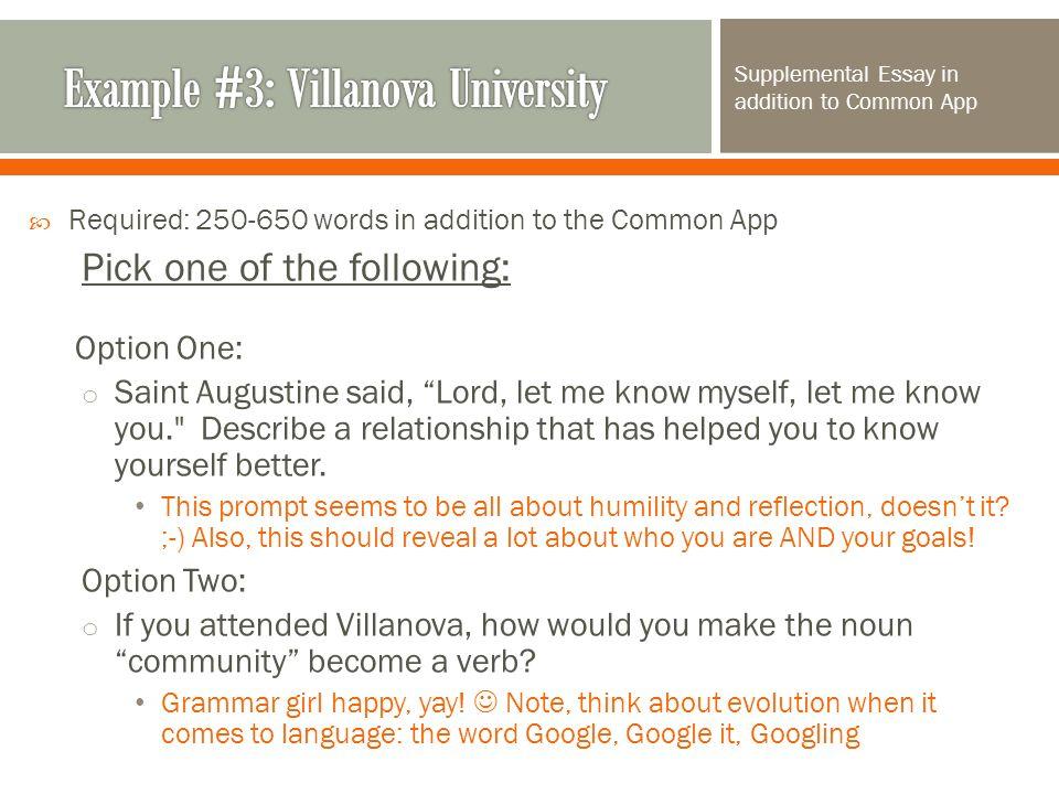 college admissions essays ppt example 3 villanova university
