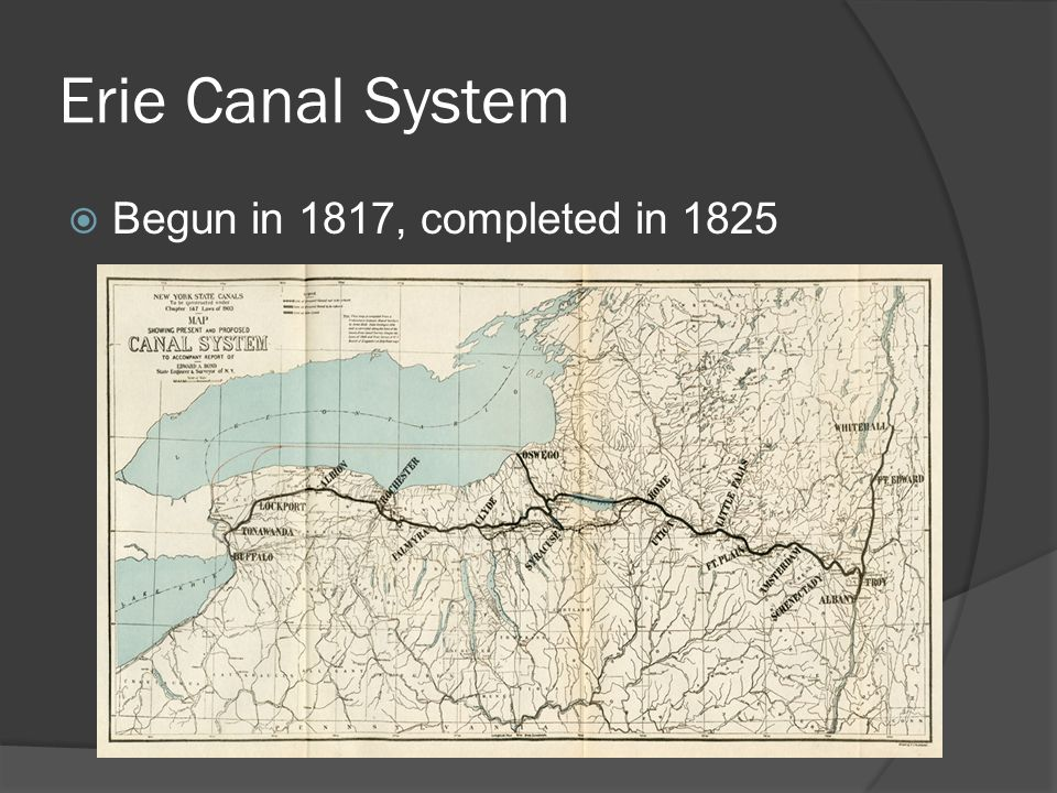 Erie Canal System Begun in 1817, completed in 1825