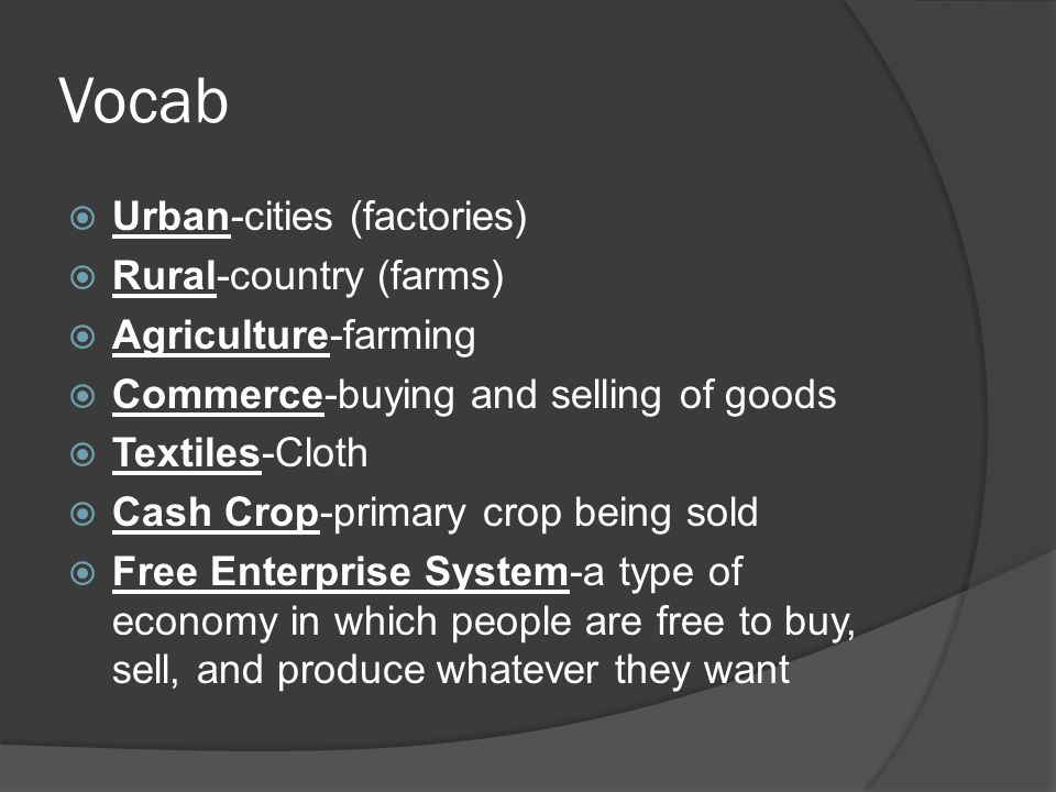 Vocab Urban-cities (factories) Rural-country (farms)
