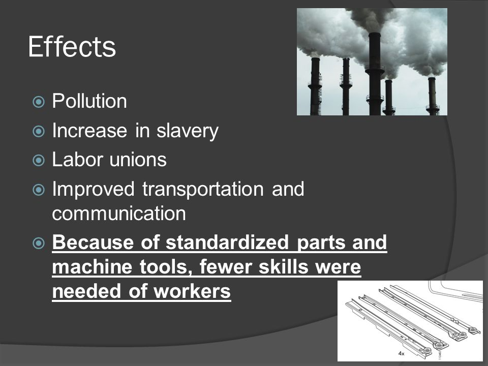 Effects Pollution Increase in slavery Labor unions