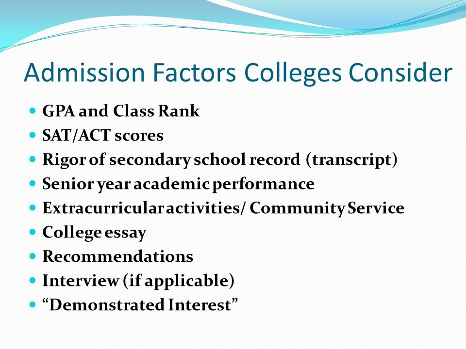 senior parent presentation ppt video online  admission factors colleges consider