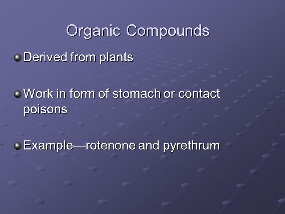 Organic Compounds Derived from plants