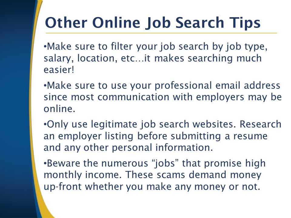 other online job search tips - Job Searching Tips