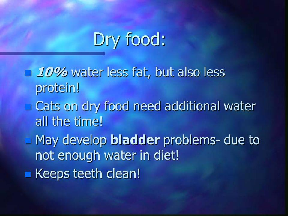 Dry food: 10% water less fat, but also less protein!