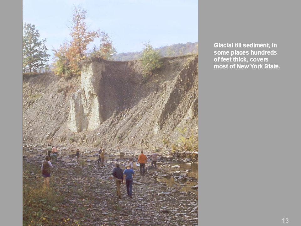 Glacial till sediment, in some places hundreds of feet thick, covers most of New York State.