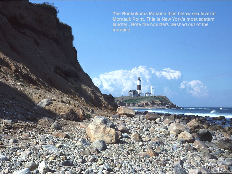 The Ronkokoma Moraine dips below sea level at Montauk Point