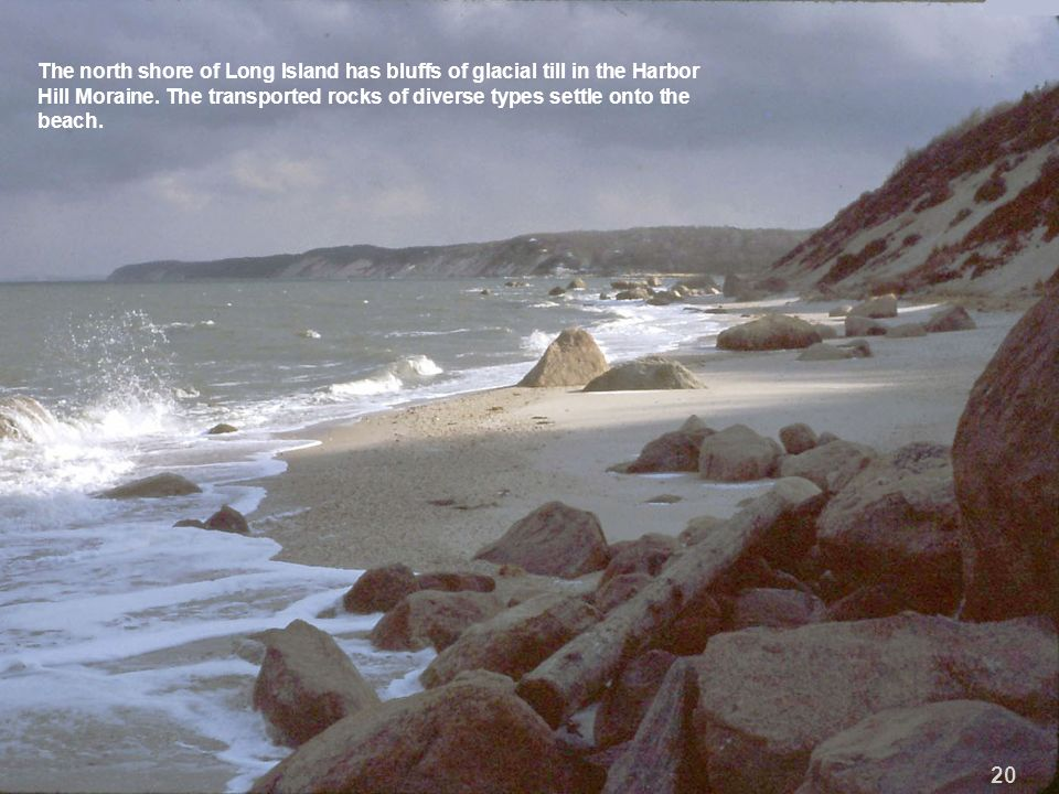 The north shore of Long Island has bluffs of glacial till in the Harbor Hill Moraine. The transported rocks of diverse types settle onto the beach.