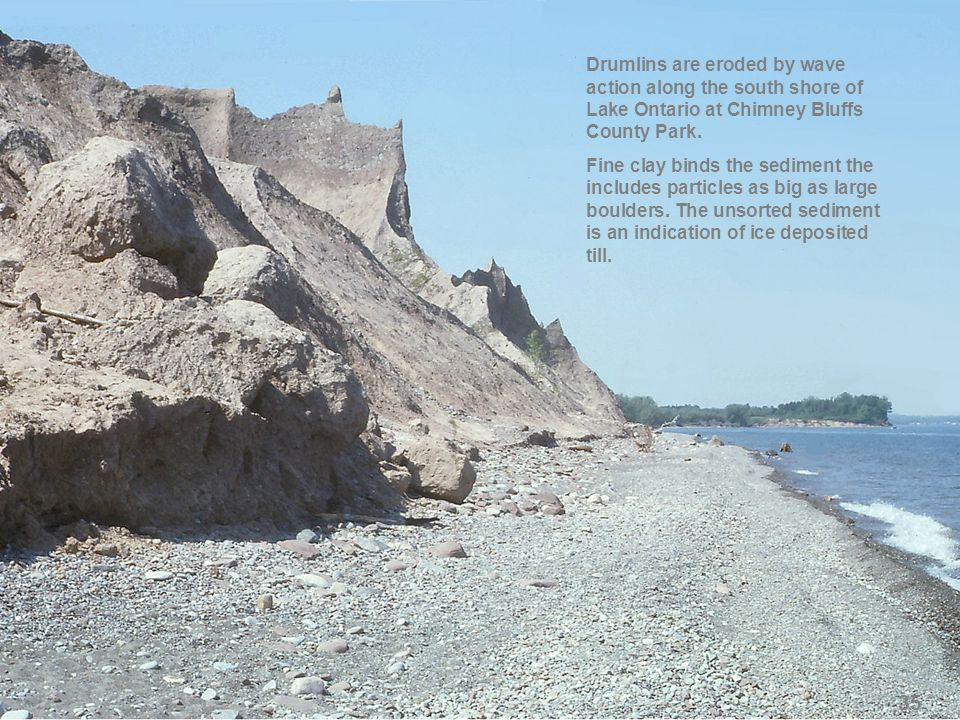 Drumlins are eroded by wave action along the south shore of Lake Ontario at Chimney Bluffs County Park.