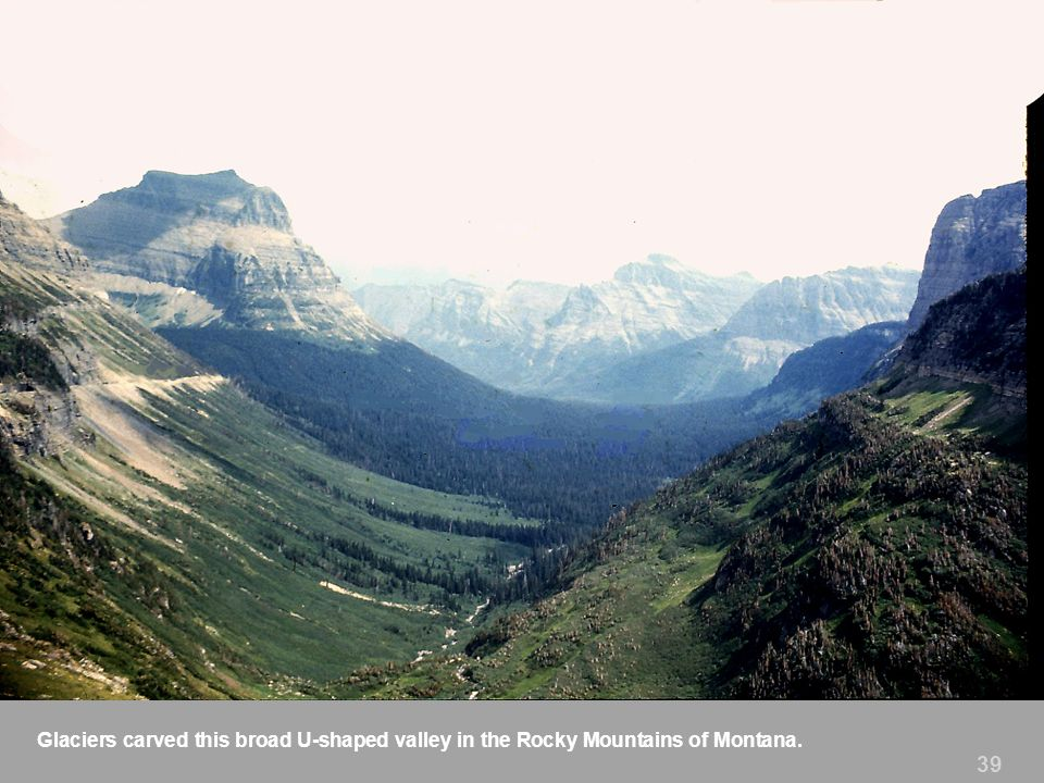 Glaciers carved this broad U-shaped valley in the Rocky Mountains of Montana.