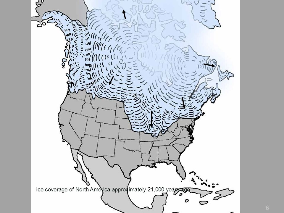 Ice coverage of North America approximately 21,000 years ago