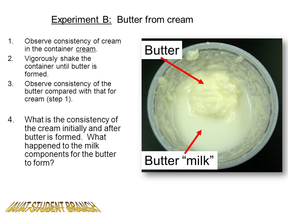 Experiment B: Butter from cream