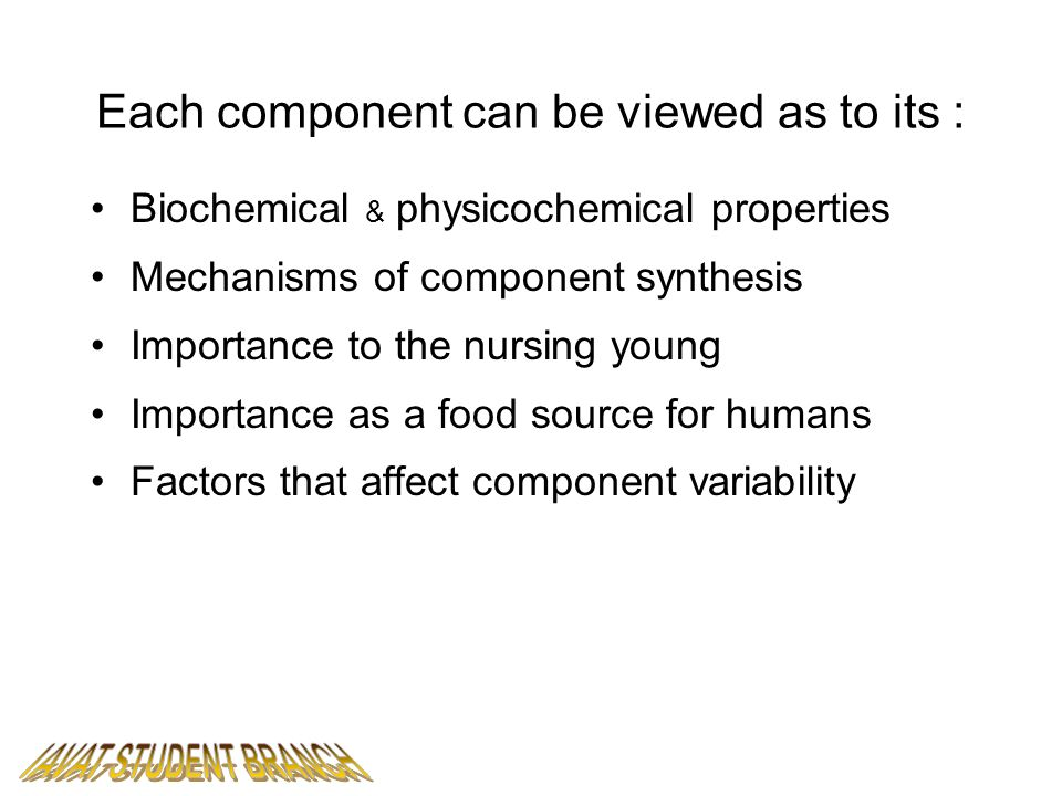 Each component can be viewed as to its :