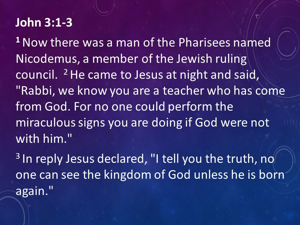 John 3:1-3 1 Now there was a man of the Pharisees named Nicodemus, a member of the Jewish ruling council.