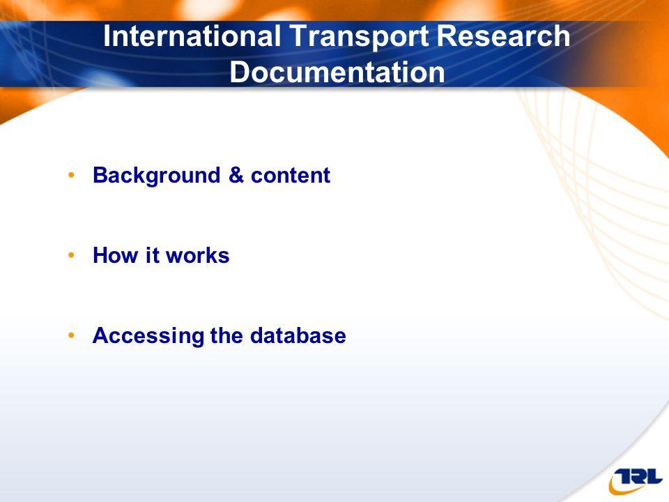 International Transport Research Documentation