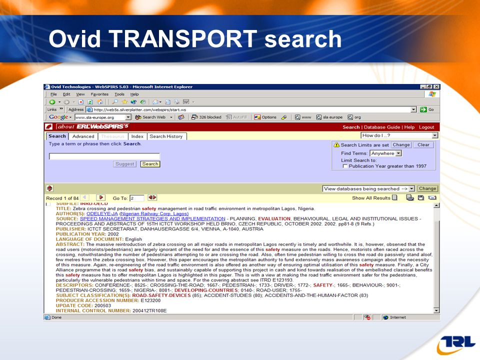 Ovid TRANSPORT search