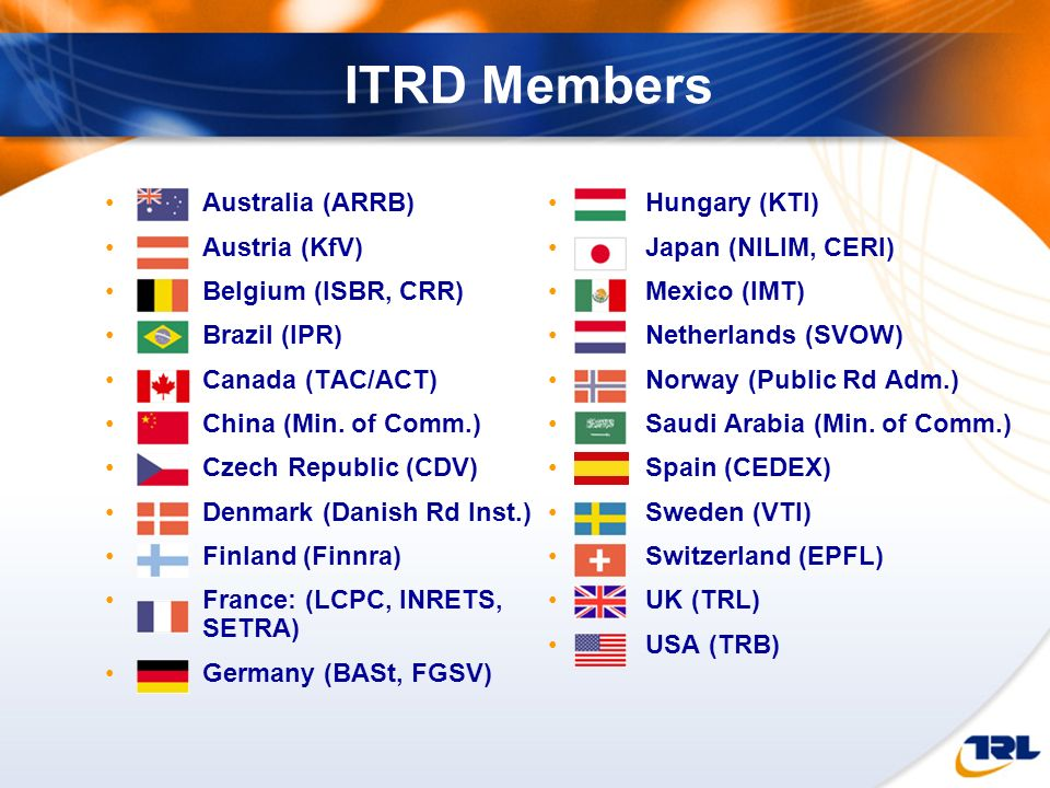 ITRD Members Australia (ARRB) Austria (KfV) Belgium (ISBR, CRR) Brazil (IPR) Canada (TAC/ACT) China (Min. of Comm.)