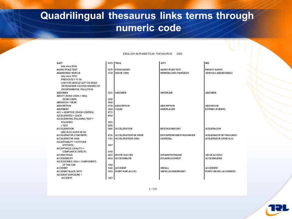 Quadrilingual thesaurus links terms through numeric code