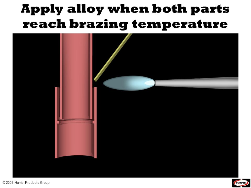 Apply alloy when both parts reach brazing temperature