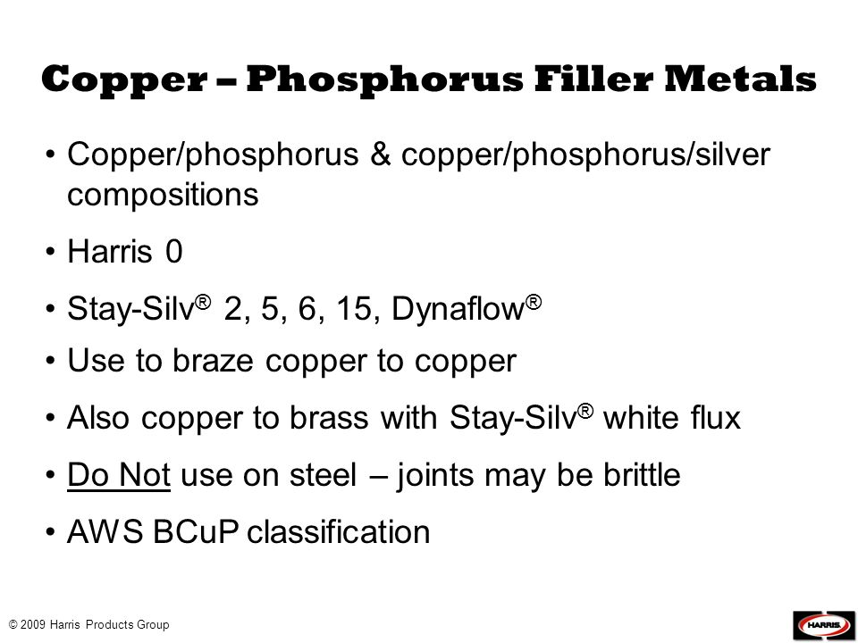 Copper – Phosphorus Filler Metals