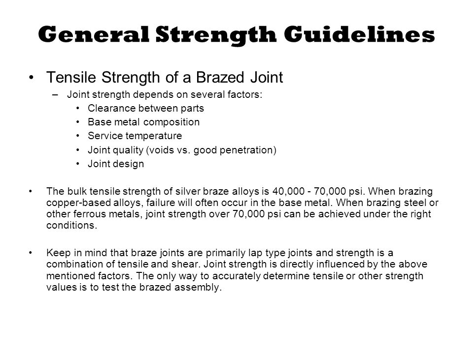 General Strength Guidelines