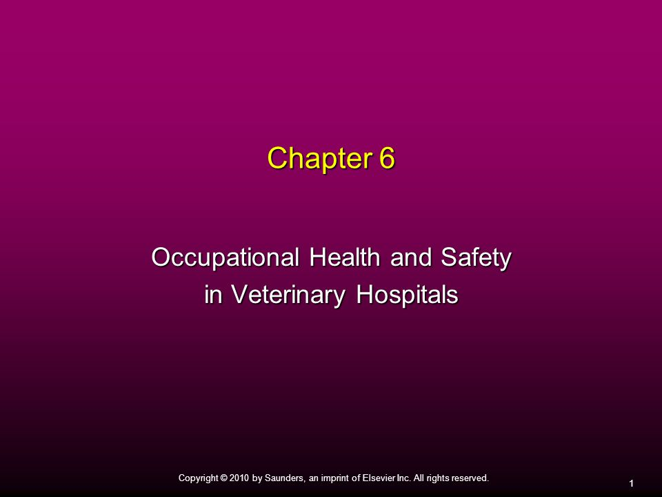 Occupational Health and Safety in Veterinary Hospitals