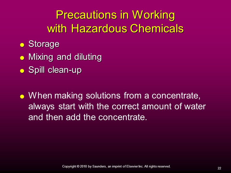 Precautions in Working with Hazardous Chemicals
