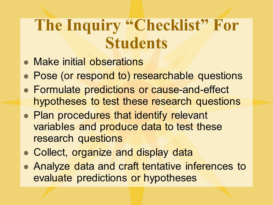 The Inquiry Checklist For Students