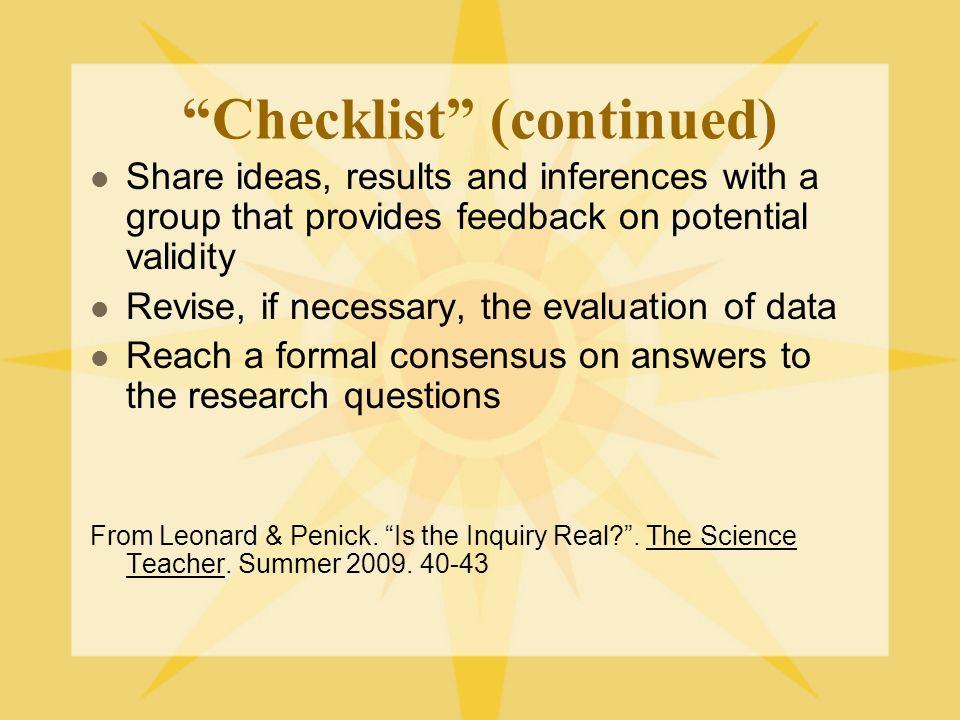 Checklist (continued)