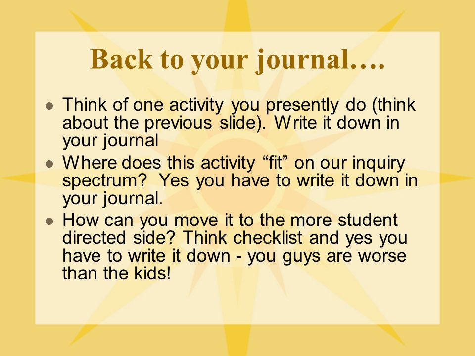 Back to your journal…. Think of one activity you presently do (think about the previous slide). Write it down in your journal.